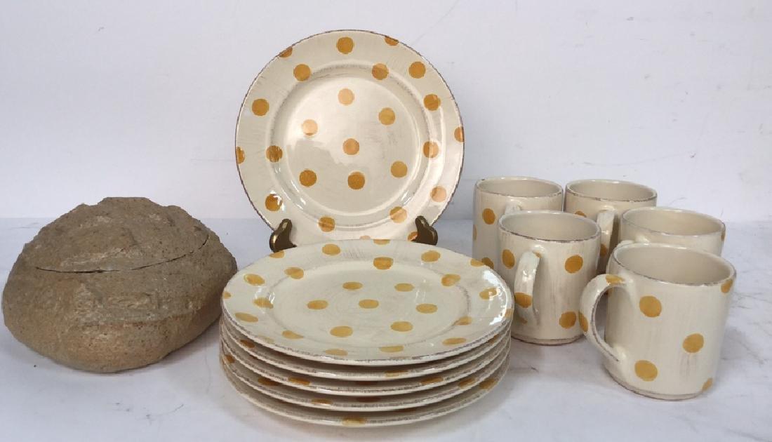 Group Lot Of Pottery Mugs, Plates, Lidded Bowl