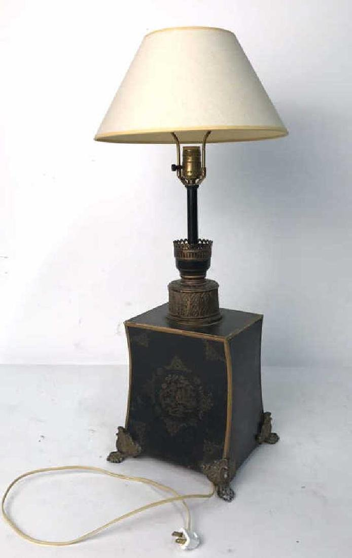 Vintage Table Lamp Gold Paint On Black