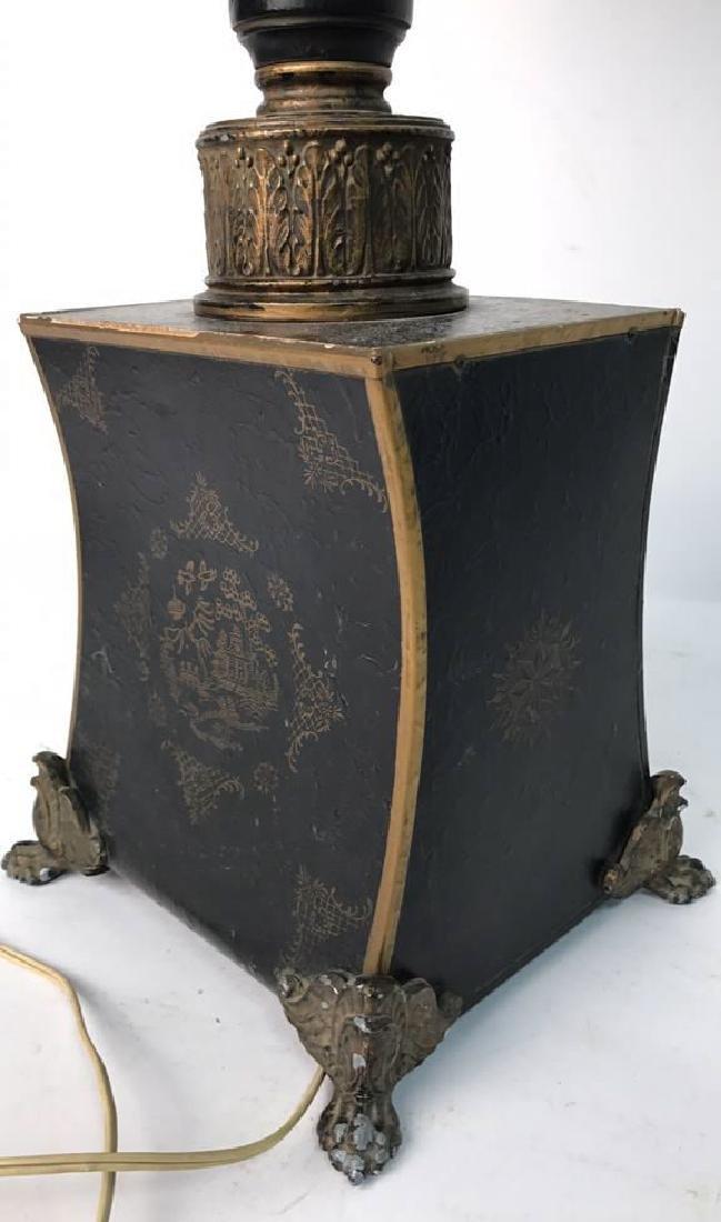 Vintage Table Lamp Gold Paint On Black - 2