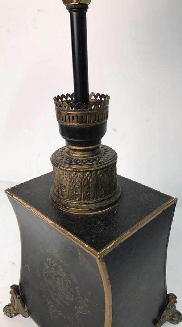 Vintage Table Lamp Gold Paint On Black - 3