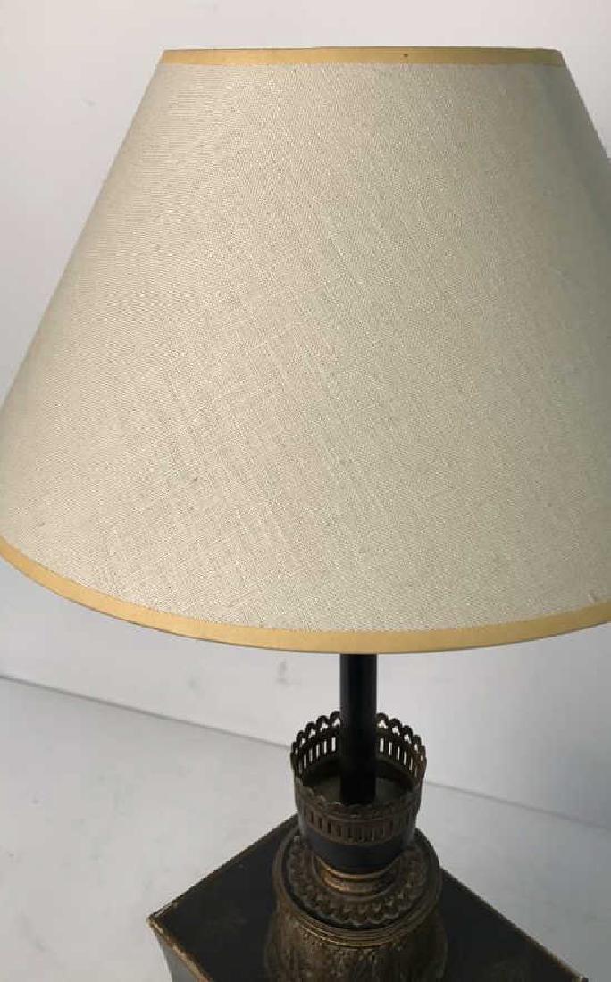 Vintage Table Lamp Gold Paint On Black - 4