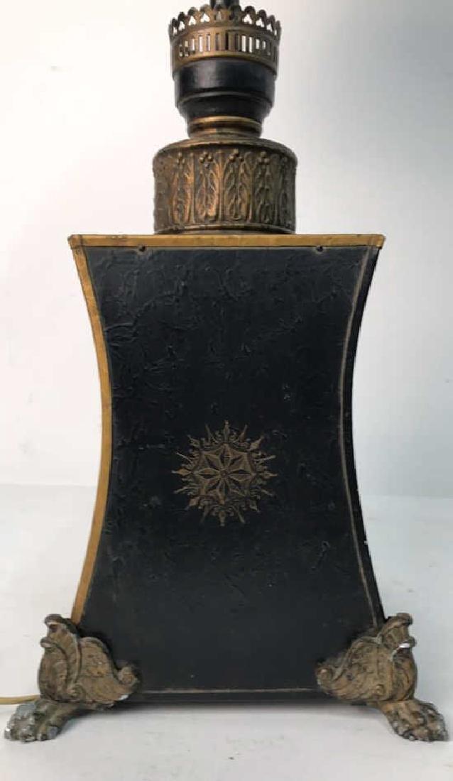 Vintage Table Lamp Gold Paint On Black - 5