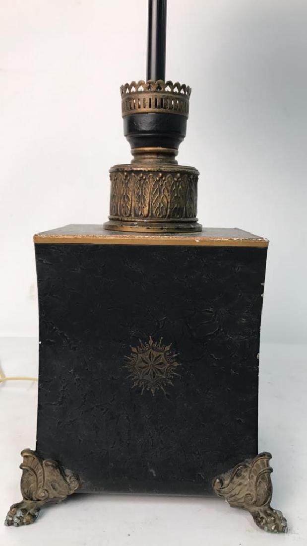 Vintage Table Lamp Gold Paint On Black - 6