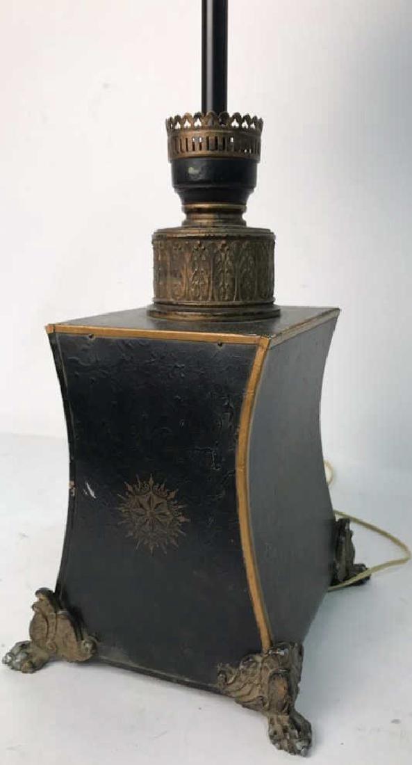 Vintage Table Lamp Gold Paint On Black - 7
