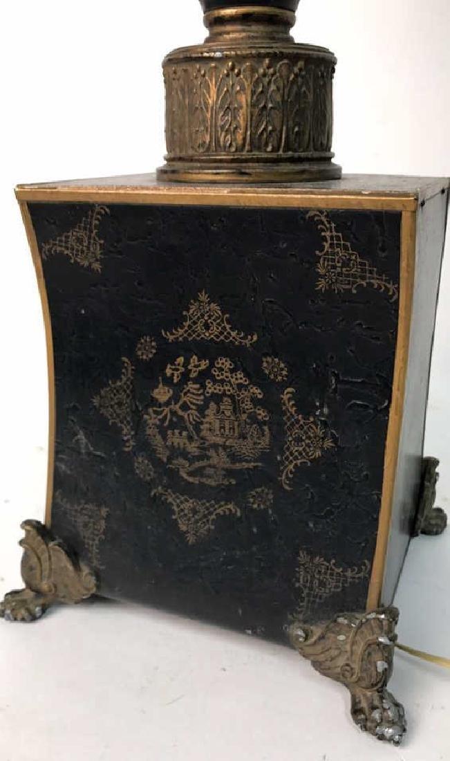 Vintage Table Lamp Gold Paint On Black - 8