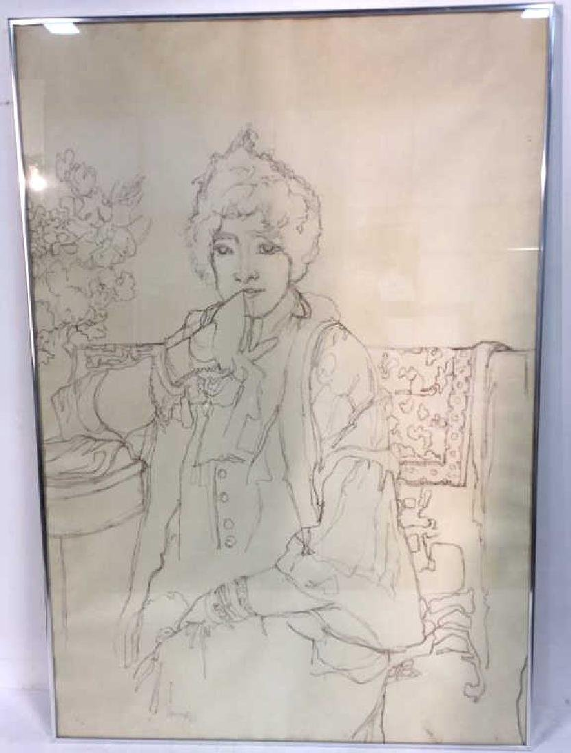 Framed Drawing S Bernhardt By Harrington