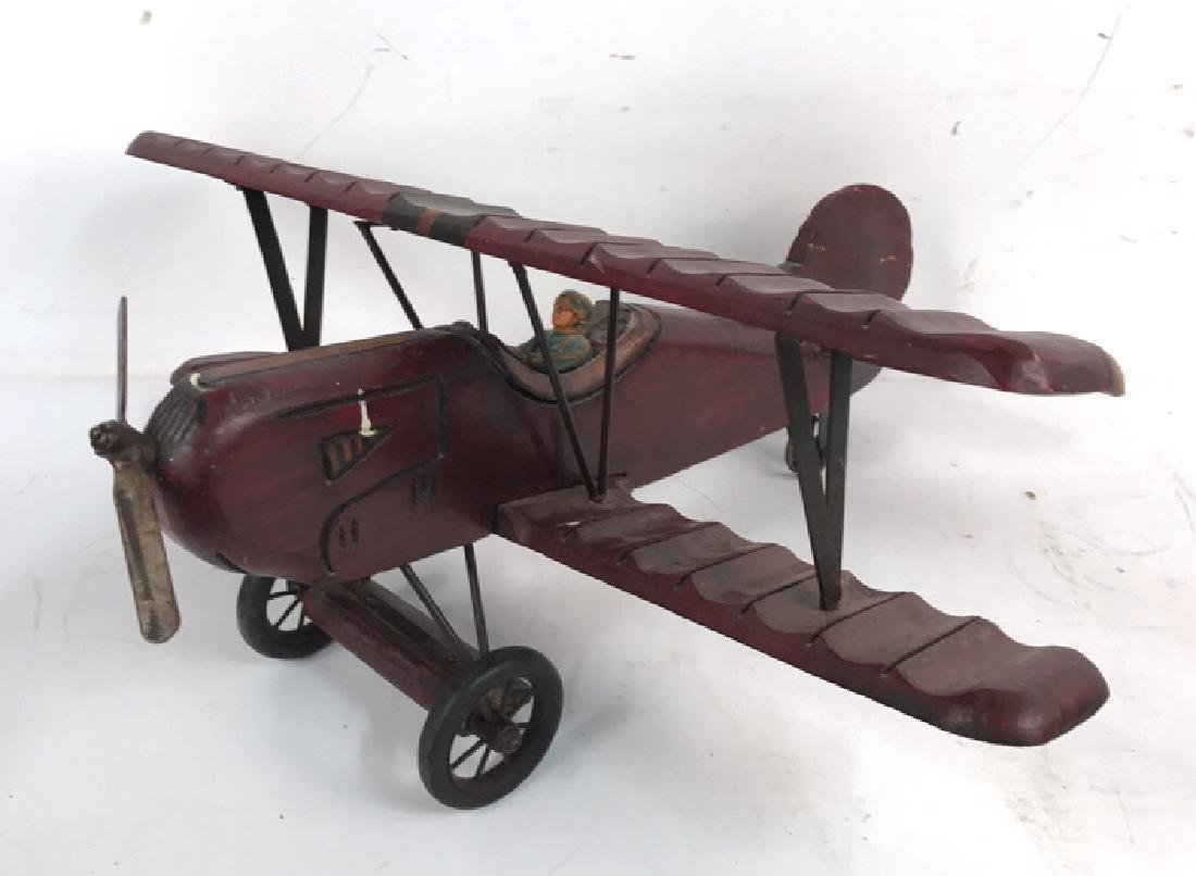 Wooden Carved Painted Airplane Toy
