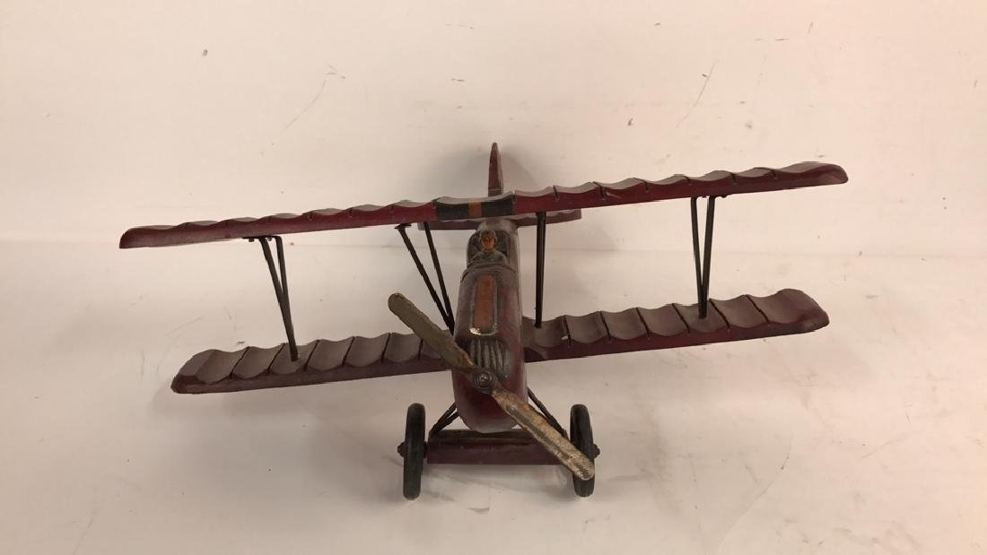 Wooden Carved Painted Airplane Toy - 2