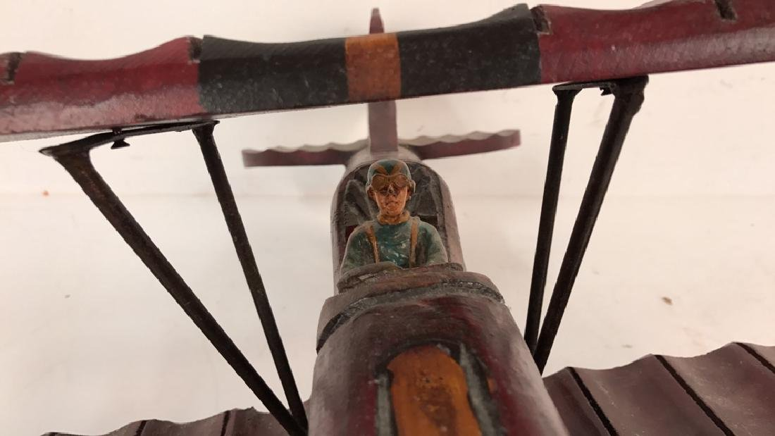 Wooden Carved Painted Airplane Toy - 4