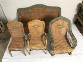 Lot Of Wicker Furniture Sofa Chairs More
