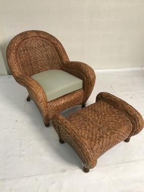 Pottery Barn Malabar wicker armchair and ottoman