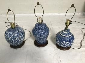 Lot of 3 blue and white ceramic lamps
