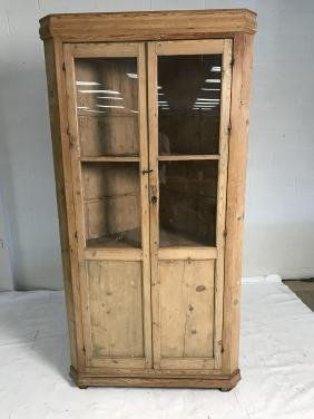 Antique pine corner hutch with glass front