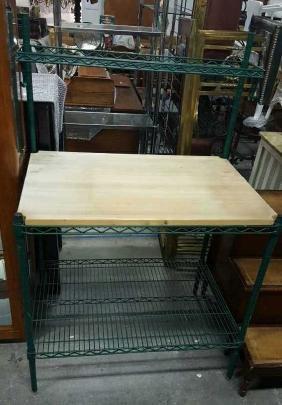 Green Metal and Wood Bakers Rack