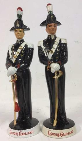 Pair Liquore Galliano Soldier Decanters