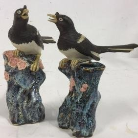 Group Two Vintage Bird Vases on Blooming Branches