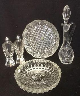 Group Lot Pressed Glass Table Top Accessories
