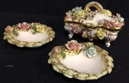 Vintage Capodimonte Porcelain Tabletops 3 pieces of