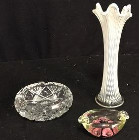 Assorted Crystal And Glass Tabletop Articles 3 assorted