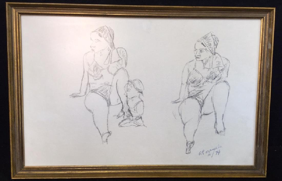 Framed Sketch Signed By Ralph Fasanella
