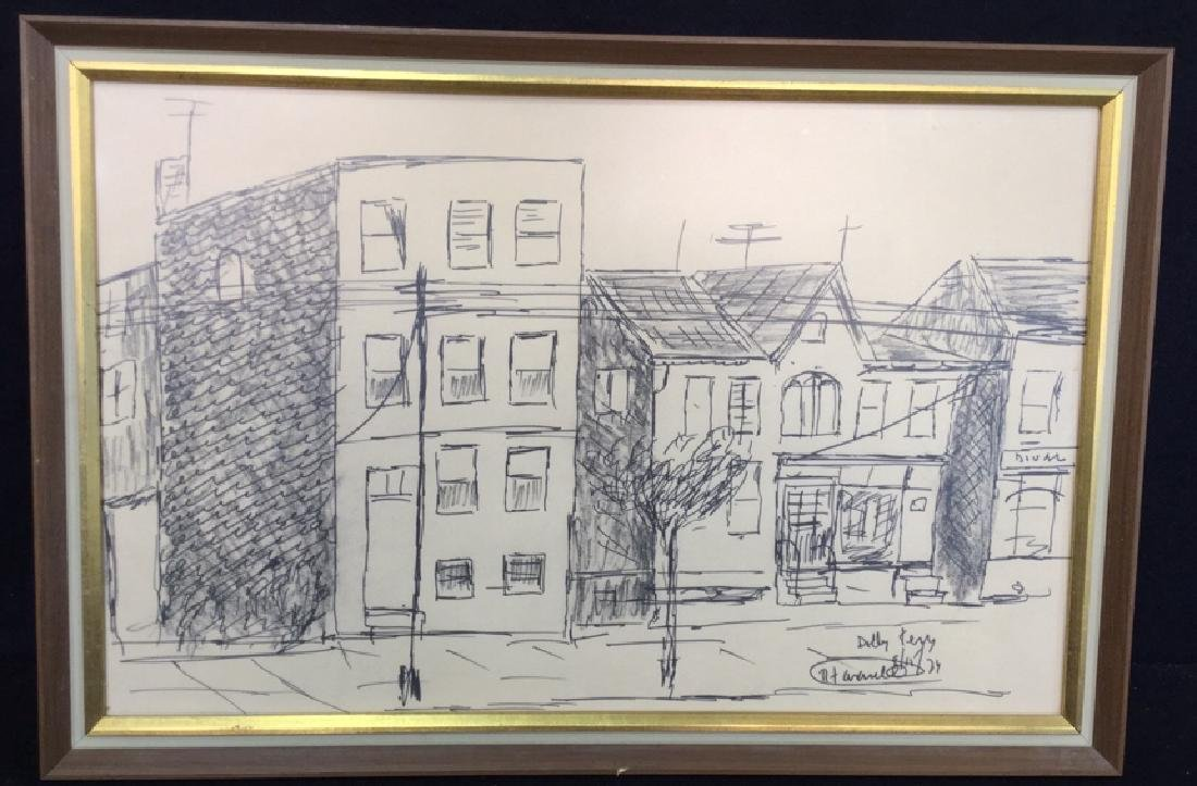 Vintage Framed Sketch Signed By Fasanella