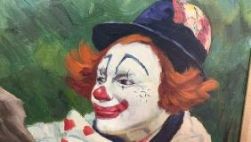 Framed Clown Painting On Canvas
