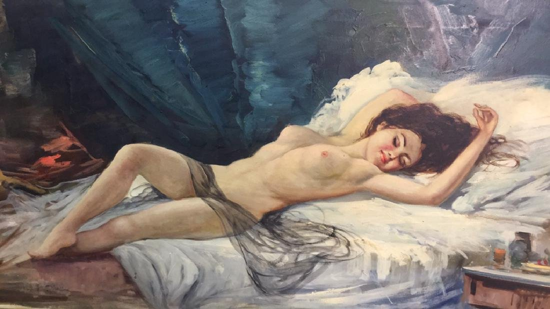 Framed Portrait Of Reclining Nude