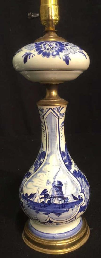 Vintage Delft Porcelain Signed Windmill Table Lamp