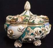 Vintage Footed Capodimonte Porcelain Lidded Bowl