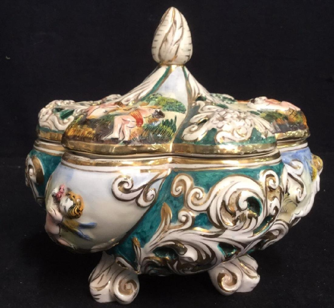 Vintage Footed Capodimonte Porcelain Lidded Bowl