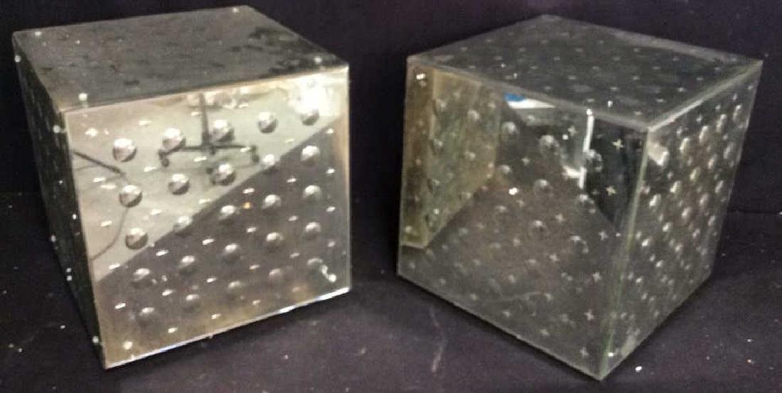Pair Mirrored Cube End Tables
