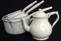 5 Piece Group Antique English Enamelware