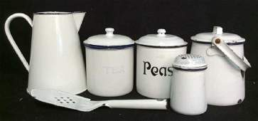 6 Piece Group Antique English Swedish Enamelware