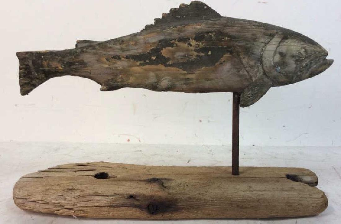 Folk Art Wood Fish Sculpture on Stand