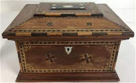 Antique 19th C Sailors Lovers Inlaid Box