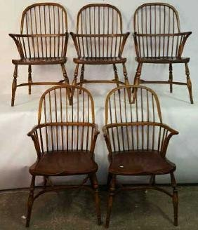 Set Five Antique Windsor Arm Chairs