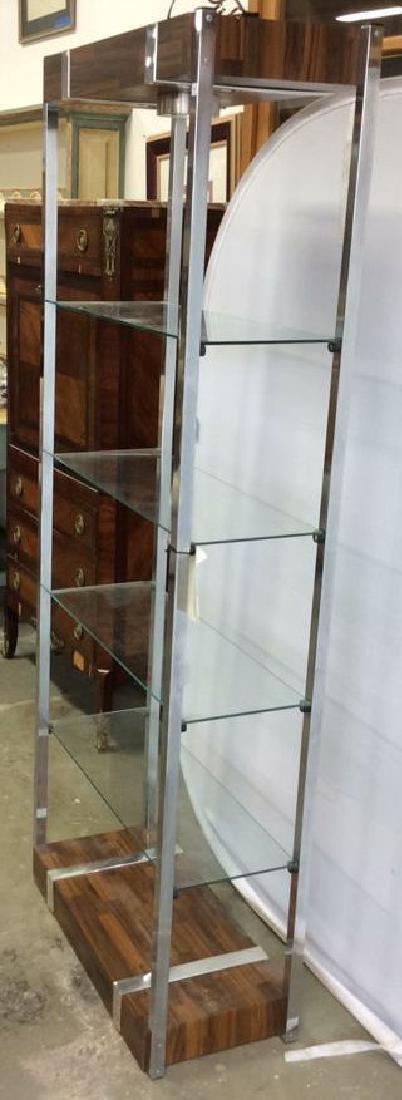 Wood Chrome Glass Etagere
