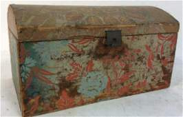 Antique Dome Topped Wallpapered Chest Box