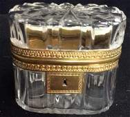 Antique French Crystal Gilt Bronze Hinged box