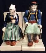 Pair Bouvier Signed Quimper Seated Figure Ceramics