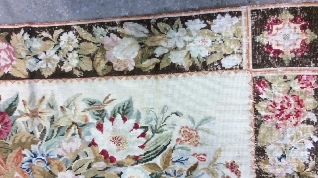 Antique Floral Needlepoint Carpet