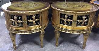 Pair Of Gold Painted End Tables