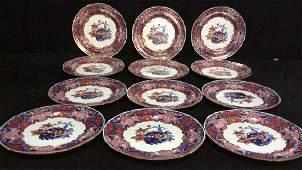 Set 12 Early Imari Frog Plates C 1825