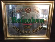 Vintage Mirrored Heineken Framed Advertisement