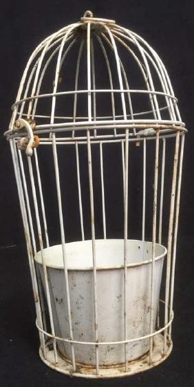 Vintage Bird Cage Replica Metal Garden Planter