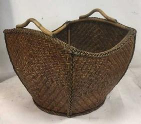 Handled Diamond Pattern Square Woven Basket