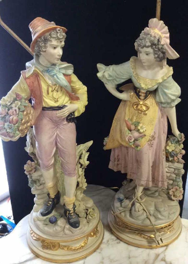 Pair Victorian Bisque Figural Lamps