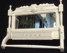Vintage Painted Wood Mirrored Vanity Towel Rack
