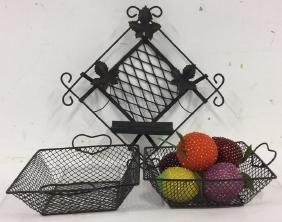 Group of 8 Metal Weave Baskets Decorative Fruit