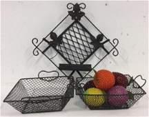 Group of 8 Metal Weave Baskets Decorative Fruit